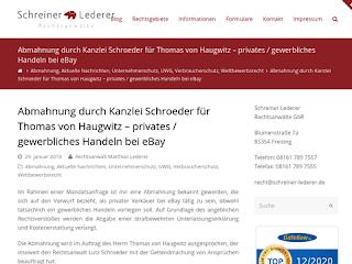 https://rechtsuniversum.de/postimg/https://www.schreiner-lederer.de/abmahnung-durch-kanzlei-schroeder-fuer-thomas-von-haugwitz-privates-gewerbliches-handeln-bei-ebay?size=320